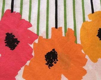 Vintage VERA Twin Flat Bed Sheet - Poppies and Stripes - Burlington