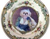 """Portrait of a Shih Tzu  - Altered Vintage Plate 6.4"""""""