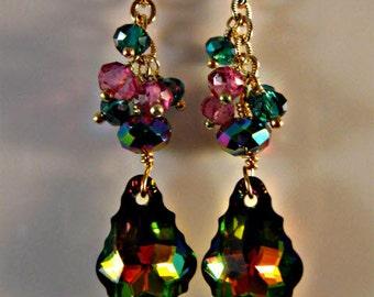 Crystal Cluster earrings,dangle earrings,drop earrings,gold earrings,crystal earrings,swarovski crystal earrings,vitrail earrings,vitrail
