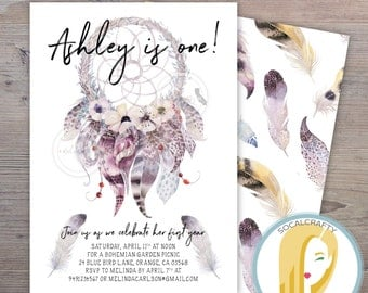 Dreamcatcher Birthday Party Invitation, Boho Invite, Bohemian, Feather, Watercolor, First, Printed or Printable Invitations, Free Shipping