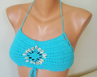 Turquoise bikini top summer top with cowrie shells for summer festival top, festival clothing, womens top, crochet bikini top beach clothes