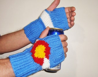 Men's Colorado Flag Knit Fingerless Gloves Colorado Gifts Valentines Day Outfit Gift for Men