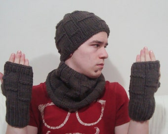 Mens Scarf, Hat and Gloves Set in Brown cool gifts for men, winter mens scarf hat glove set combo, gift for mens gift