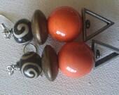 Mudcloth beaded  l'orange earrings /black white orange earrings /