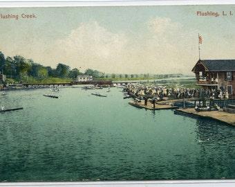 Boating Flushing Creek Long Island New York 1908 postcard