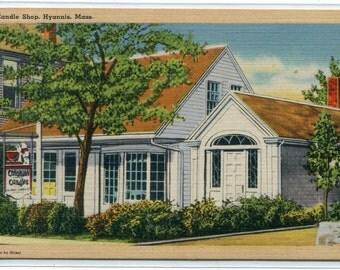 Colonial Candle Shop Hyannis Cape Cod Massachusetts linen postcard