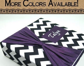 Girl Photo Album Baby Personalized Photo Album Baby Photo Album Custom photo album 4x6 5x7 8x10 picture Book Purple Black Chevron