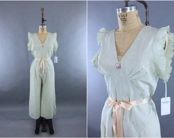 Vintage 1930s Beach Pajamas / 30s Lingerie PJs / Jumpsuit Palazzo Pants / Art Deco Step-in Loungewear / Celedon Sea Foam Green