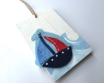 Handpainted and Personalized Sailboat Ornament