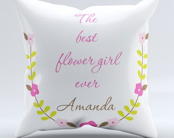 Personalized Flower Girl Pillow-cover - Personalized Wedding favor for flower girl - Personalized Flower Girl Gift