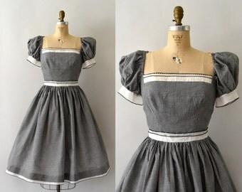 1950s Vintage Dress - 50s Black and White Gingham