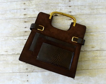 1960s Vintage Purse - 60s Dark Brown Suede and Leather Handbag