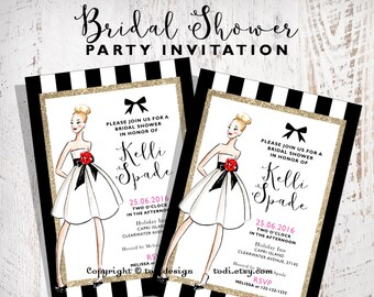Bridal Shower Invitation Design Printable- Fashion - Wedding Dress