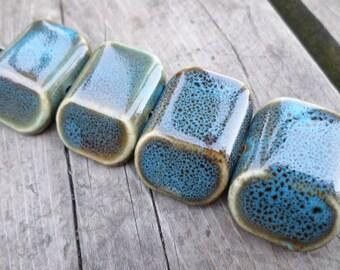 Aqua, Green or Grey Porcelain Parallelogram Beads 31x22 mm 4 pc strand