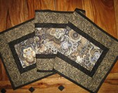 Contemporary Tablerunner Gray Taupe Cream and Black Paisley Quilted Table Runner Long Runner Table Linens Abstract Tablerunner Handmade