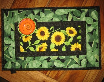 Sunflower Table Topper Runner, Yellow Sunflowers and Green Leaves, Short Table Topper Runner, Small Table Mat, Handmade