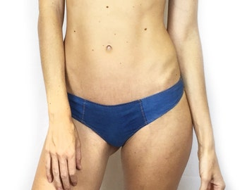 Larkspur - Imogene Organic Cotton Thong Panty - Denim Indigo