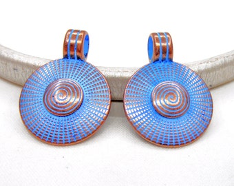 Blue Patina over Copper Disc Pendant, Round Pendant Snail, Greek Design, Greek Metal Cast, Patina Round Pendant 23mm  - 1 piece