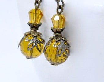 Dark Yellow Crystal Earrings, Honey Yellow Bead Earrings, Antique Brass Yellow Earrings, Glass Bead Earrings, Long Yellow Earrings Victorian
