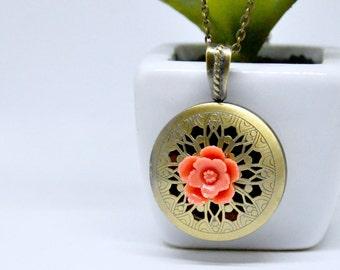 Coral Pink Flower Locket Necklace, Antique Brass Locket, Scent Locket, Floral Locket Pendant, Flower Necklace, Scent Locket, Filigree Locket