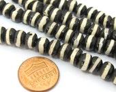 20 bone beads - Tibetan striped band bone beads supply 8 mm size  - ML057B