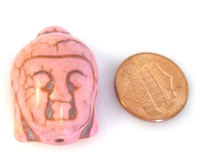 1 Bead - Pink color turquoise howlite Buddha bead- BD921