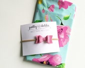 SO soft---Baby girl swaddle blanket and headband set. Pretty mint and pink floral with a matching felt bow