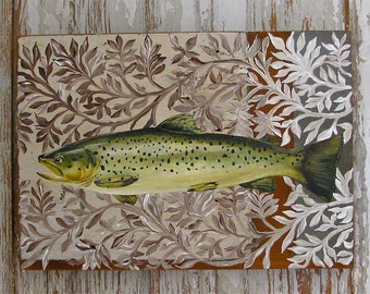 Trout Two original painting on re-purposed wood panel