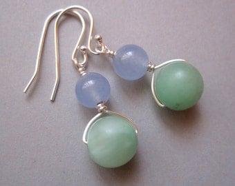Aventurine Earrings, Sterling Silver Earrings, Green Stone Earrings, Cornflower Blue Earrings,  Modern Earrings Dangle