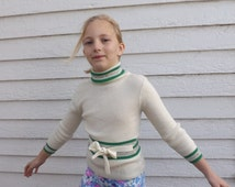 Vintage Girls Sweater 70s 1970s Retro Ivory Green Striped Turtleneck 8 9 10