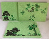 Green Vintage Note Cards, Unused, Set of 8 Puppy Dog Getting the Mail Note Cards, Illustrated Envelopes on Both Sides, Super Cute