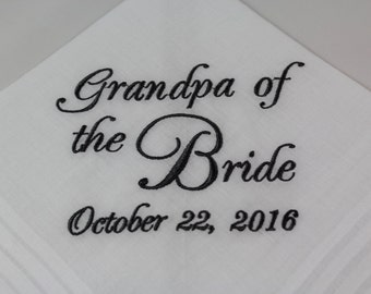 Grandpa of the Bride - Embroidered Handkerchief - Wedding Gift - Simply Sweet Hankies