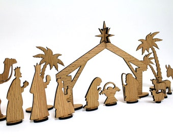 Wood Nativity Set - 30 Pieces - Sustainable Harvest - Timber Green Woods