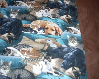 Dog and Cat Pillowcase- with brown trim - Fits Standard and Queen size pillows