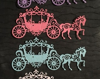 Tattered Lace Carriage - Princess - Glittered - Die Cut - Set of 4 - Very Nice!