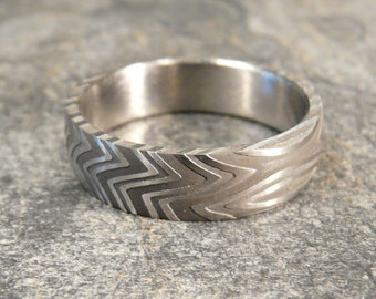 """50 PERCENT OFF- Damascus Stainless Steel Ring  Pattern, Wedding Band Hand Made """"50% OFF"""""""