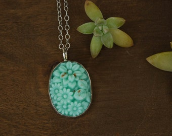 Vintage Turquoise Glass and Sterling Necklace, Ready to Ship