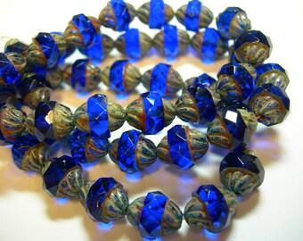 15 12x10mm Czech Glass Faceted Cobalt Blue Travertine Turbine Beads