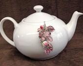 Tea Ball Tea Infuser with Pink Beaded Chain loose tea infuser ball loose tea strainer ball tea lover gift loose leaf teaball mesh tea ball