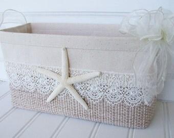 Coastal card basket with starfish for weddings, birthdays or anniversaries
