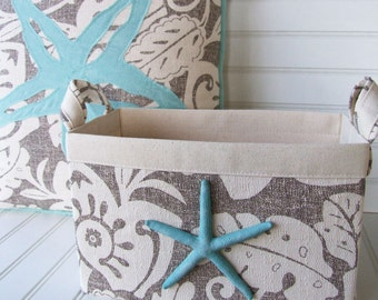 Coastal Starfish pillow and fabric storage basket set for your beach house