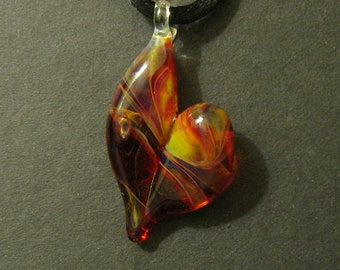 Heart Pendant Boro Glass Lampworked Focal Bead