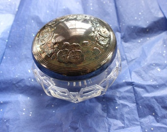 Deco Era Glass and Silver Plate Vanity Powder Box