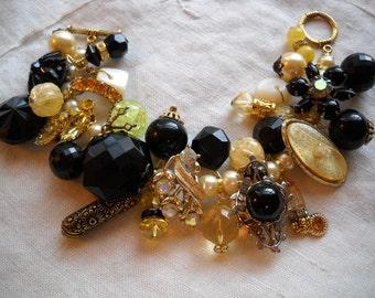 Chunky Yellow Black Charm Bracelet Reworked Vintage Earrings Beads Rhinestones FREE SHIPPING