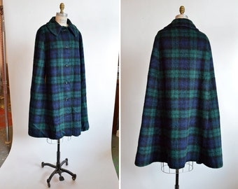 Vintage 1960s CHECKERED wool cape