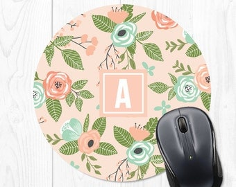 Employee Gift Mousepad Mouse Pad Floral Mousepad Office Supplies Personalized Mouse Pad Monogram Office Desk Accessories Cubicle Decor