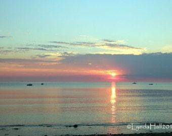 Beach Sunrise Photography- Reflect Softly, peaceful summer sunrise, New England coastal art, Ocean Photography, large wall art, grey clouds