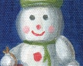 Snowman Christmas Ornament Mini Canvas Painting, Holiday Still Life Acrylic Painting