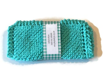 SeaBreeze, Turquoise, Hand Knit Dish Cloths