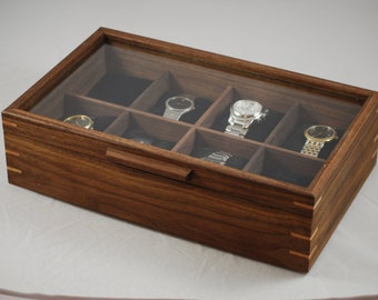 Watch Box with glass top - Holds 8 watches -